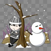 冬季雪人人物插画
