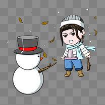 堆雪人的小女孩插画