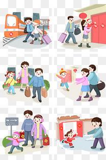 卡通手绘一家人回家过年