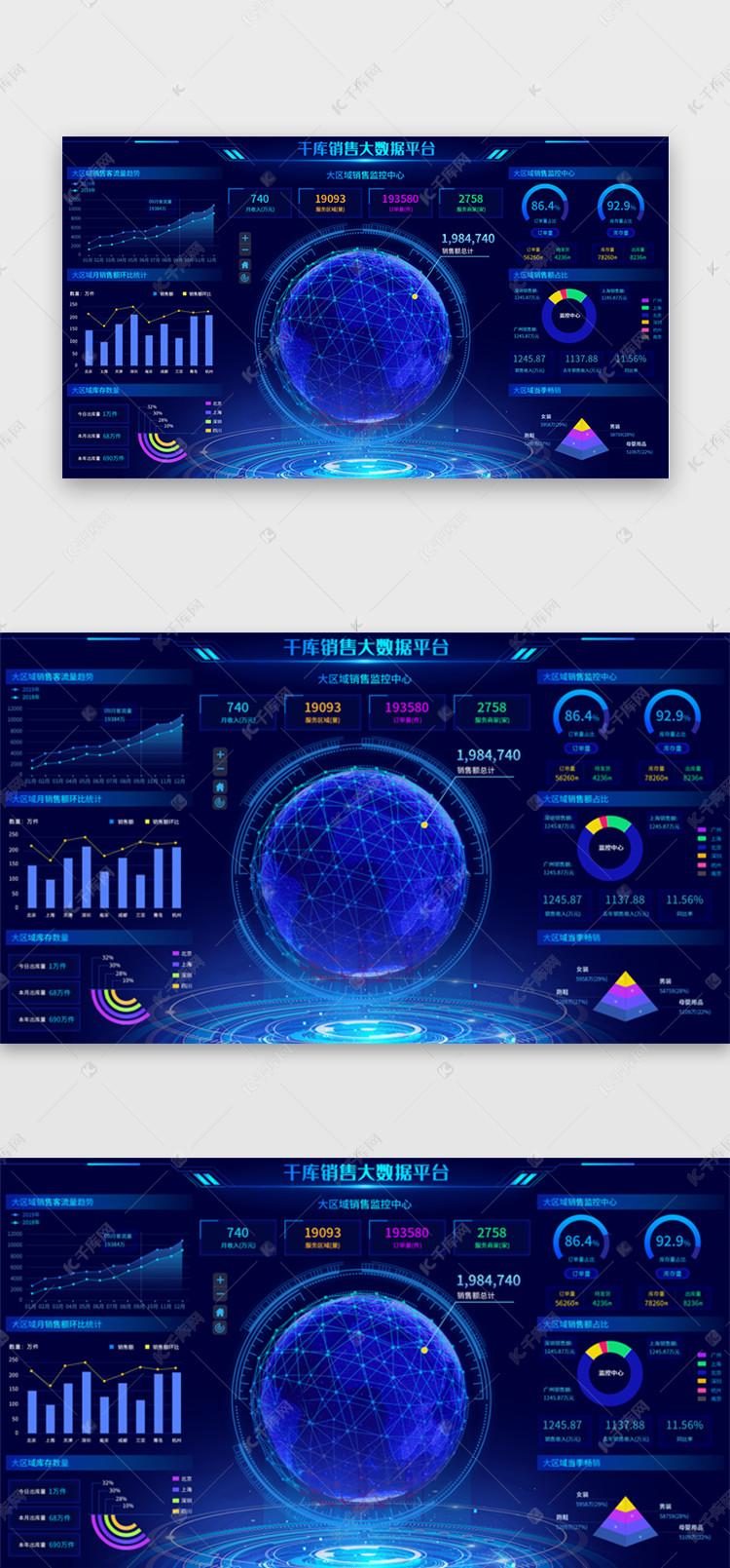 深蓝色系销售平台数据可视化